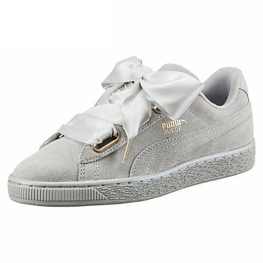 Ladies Puma Grey Suede Heart Reset Sneakers