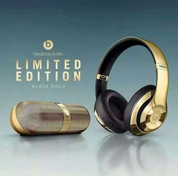 Beats Studio 2 Gloss Gold Wireless On Ear Headphones & Pill 2.0 Portable Bluetooth Speaker (Special Edition)