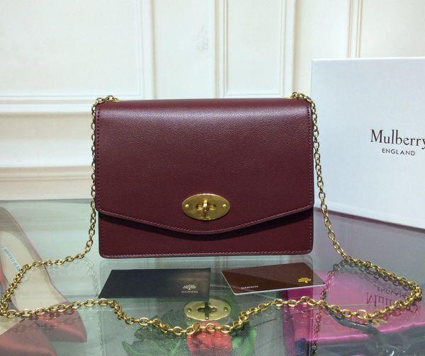 6336bdf184 Mulberry Small Darley Bright Maroon Cross Grain Leather