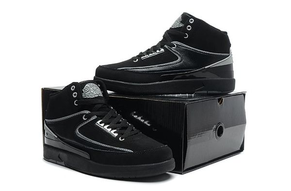 "Air Jordan 2 (II) Retro ""Custom Engraved"" Black/Silver Sneaker"