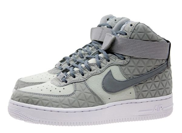 Ladies Nike Air Force 1 Hi Premium Suede Silver Sneakers