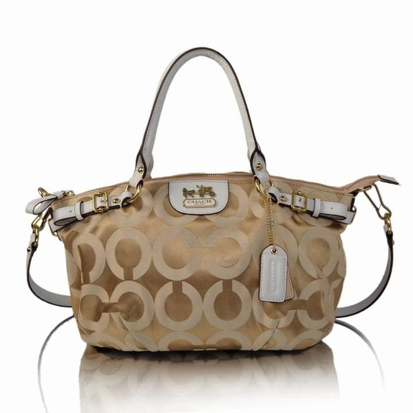 Ladies Coach Original Khaki Signature Canvas Satchel