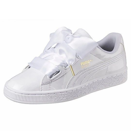 Ladies Puma White Basket Heart Satin Sneakers