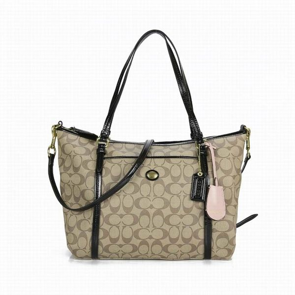 Ladies Coach Black In Signature Coated Canvas Bag