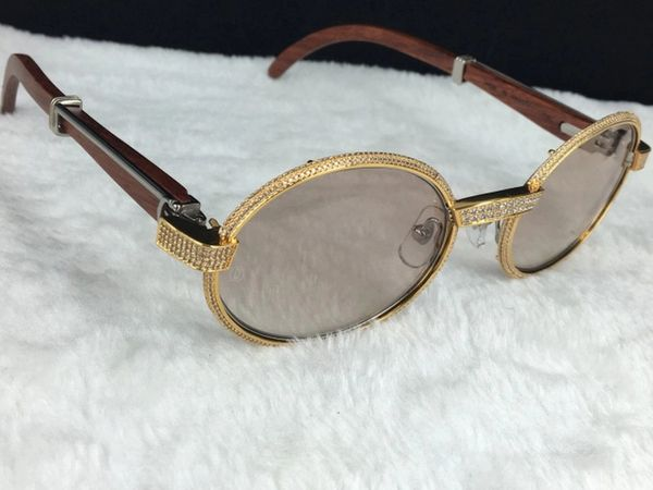 Cartier Gold 55mm Diamond Wood Gradient Lens Sunglasses (Free 3-5 Day Shipping)