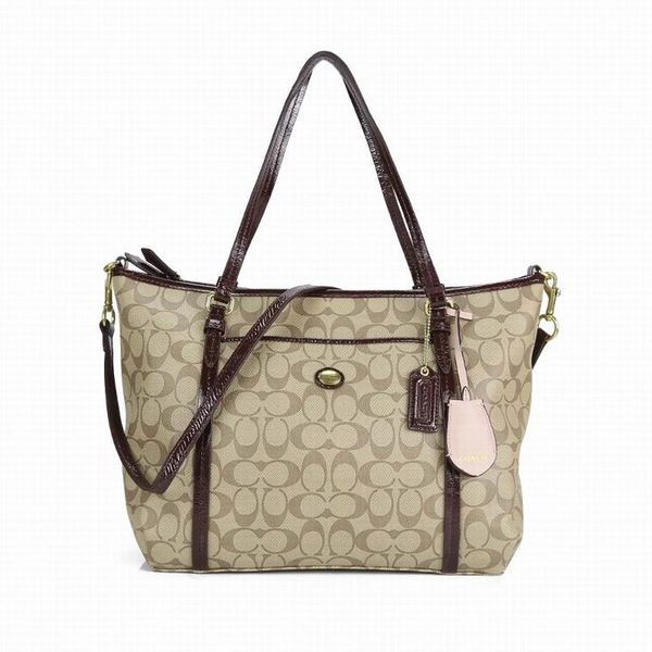 Ladies Coach Brown In Signature Coated Canvas Bag