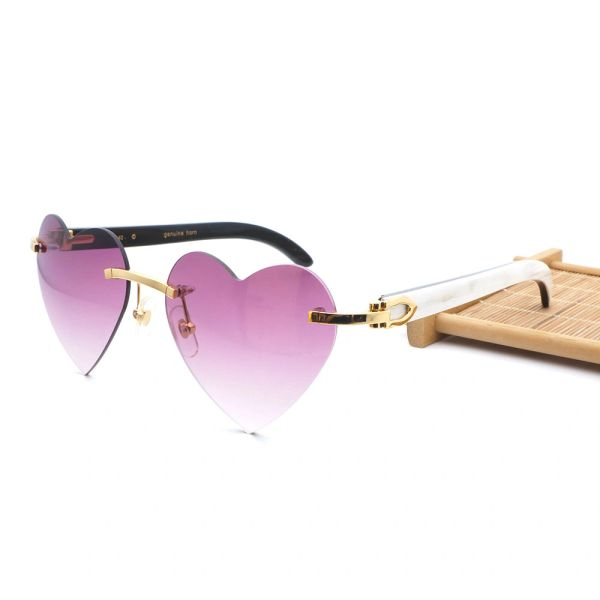 Ladies NEW 2018 Mixed Frame Cartier Pink Heart Buffalo Horn Sunglasses (Free Express Shipping)