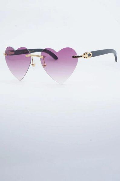 Ladies NEW 2018 Black Cartier Pink Heart Buffalo Horn Sunglasses (Free Express Shipping)