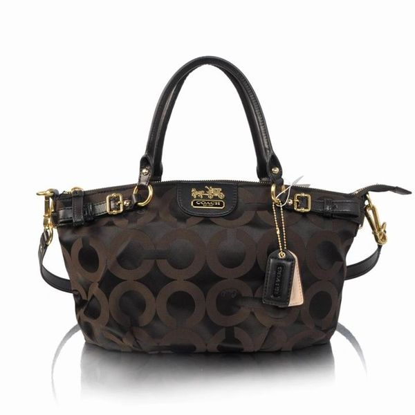 Ladies Coach Chocolate Signature Canvas Satchel