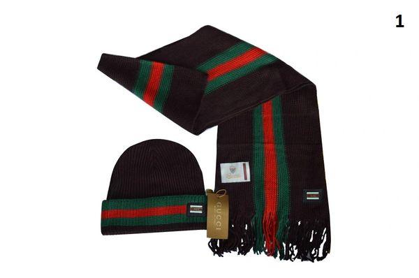 NEW Winter Original Gucci Knit Wool Scarf & Hat Set