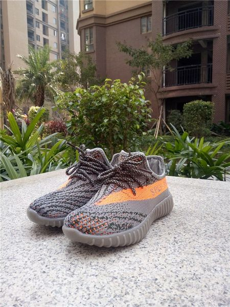 Adidas Yeezy Boost 350 V2 Grey/Orange Little Kids' Shoes