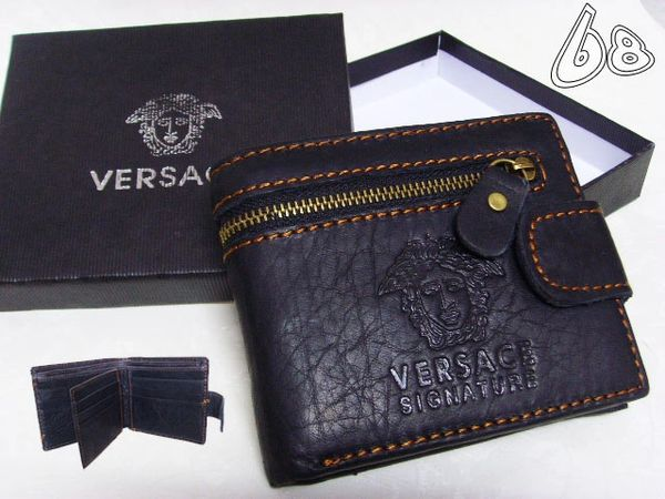 Men's Versace Custom Medusa Engraved Leather Wallet B