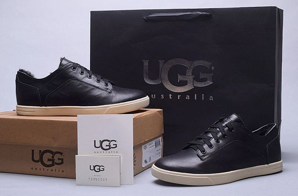Men's UGG Custom Black Leather Low Brock Lace-up Sneakers