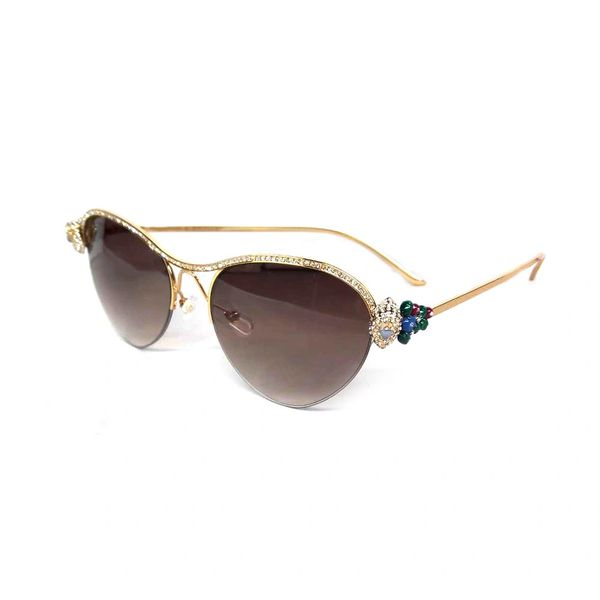 Ladies NEW 2018 Brown Cartier Diamond Metal Sunglasses (Free 3-5 Day Shipping)