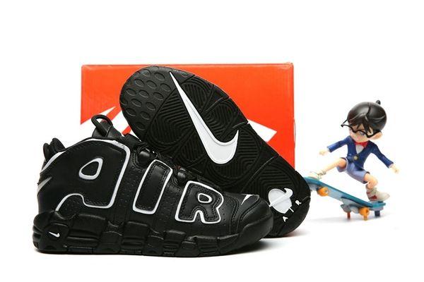 Nike Air More Uptempo Black/Black/White Little Kids' Shoe
