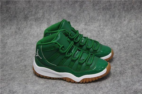 Air Jordan 11 Retro Bg (Gs) Green/White/Gum Little Kids' Shoe