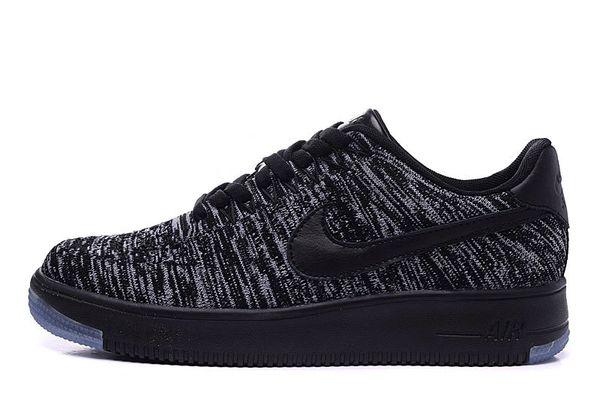 Men's Nike Air Force 1 Ultra Flyknit Low Black Grey Sneakers