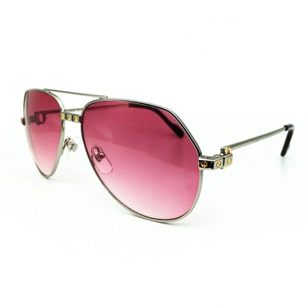 Ladies Silver Pink Cartier Metal Aviator Sunglasses Catalog 20A (Free Express Shipping)