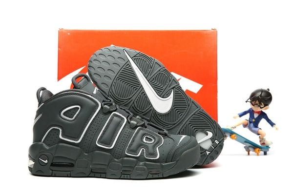 Nike Air More Uptempo Dark Grey/White Little Kids' Shoe