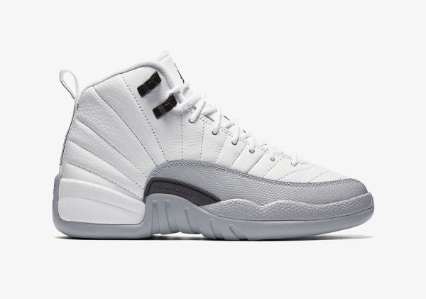 "Air Jordan 12 Retro Gg (Gs) ""Barons"" White, Black-Wolf grey Sneaker 510815-108"