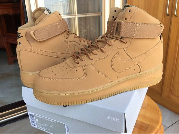 Men Nike Air Force 1 High LV8 Wheat Flax Sneakers (Limited Edition)