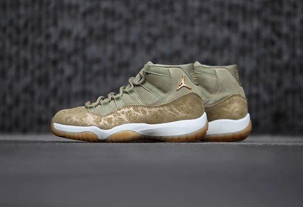 NEW Nike Air Jordan 11 Gold Pearl 'Olive Lux' Sneakers