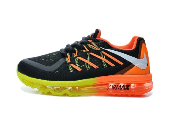 "KIDS Nike Air Max 2015 (GS) Black/Orange/Yellow Running Shoe ""Preschool"""
