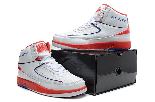 "Air Jordan 2 (II) Retro ""Custom 'Rip City' Engraved"" White/Orange/Blue Sneaker"