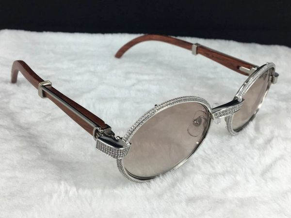 Cartier Silver 55mm Diamond Wood Gradient Lens Sunglasses (Free Express Shipping)