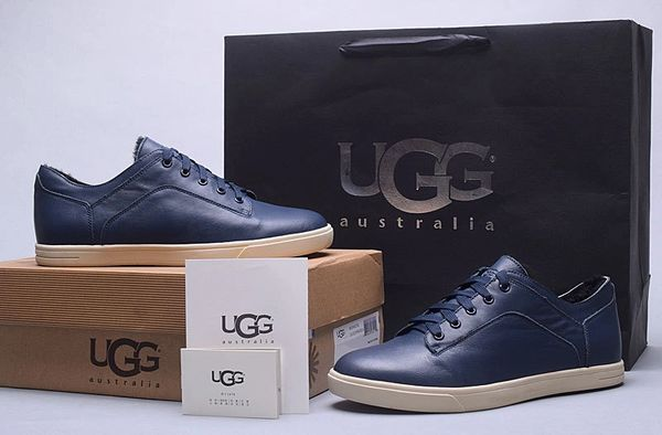 Men's UGG Custom Blue Leather Low Brock Lace-up Sneakers