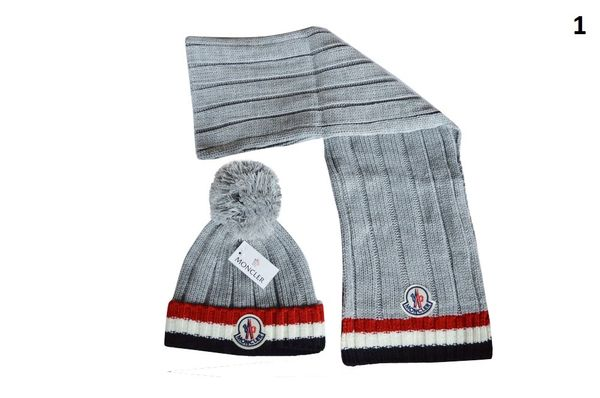 NEW Winter Original Moncler Knit Wool Hat & Scarf Set (With Pom)