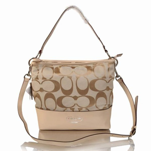 Ladies Coach Signature Stripe Khaki Cross Body Bag