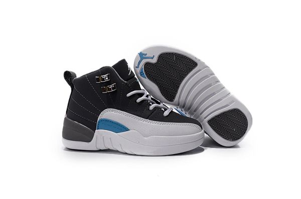 "Air Jordan 12 Wolf Grey/Turquoise Blue Little Kids' Shoe ""Playoffs"""