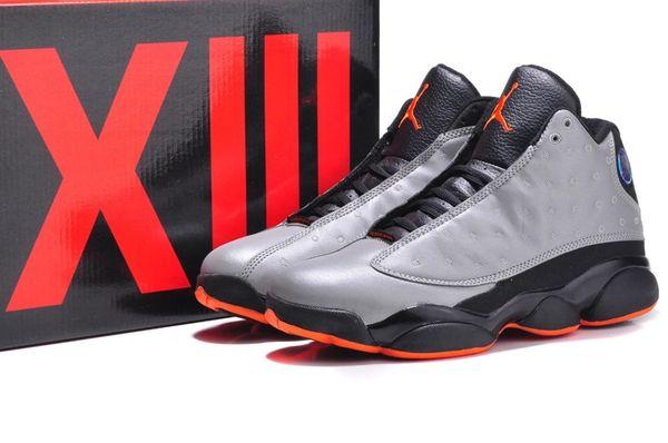Air Jordan Retro 13 (XIII) Cool Grey/Orange Sneaker