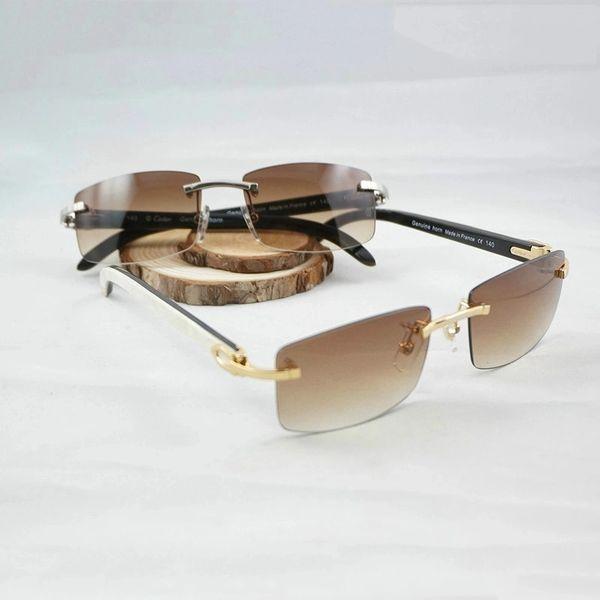 Unisex 2017 Mixed Frame Cartier Rimless Buffalo Horn Sunglasses (Free Express Shipping)