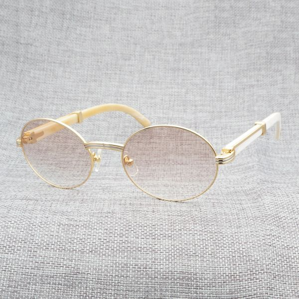 NEW Unisex Cartier 755 Oval Metal/Wood/Buff Sunglasses (Free Express Shipping)