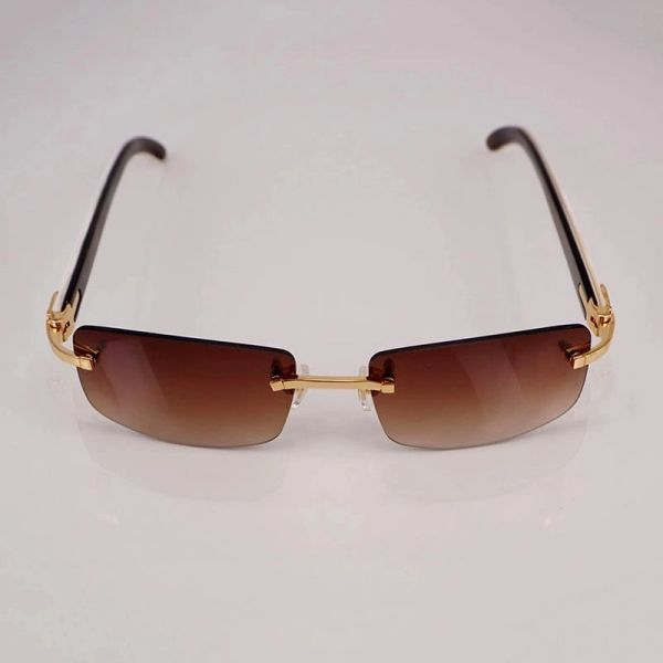 "Cartier ""C"" Décor Vintage White Buffalo Horn Rimless Sunglasses ..."