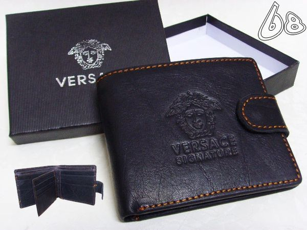 Men's Versace Custom Medusa Engraved Leather Wallet