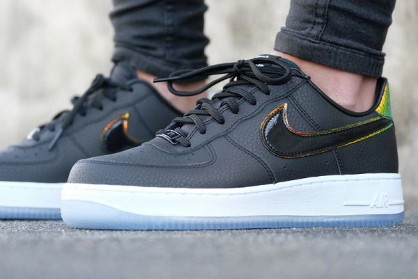 Ladies Nike Air Force 1 07 Premium Black & Gold Sneakers