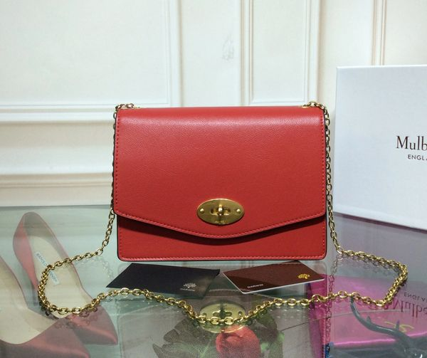 Mulberry Small Darley Bright Red Cross Grain Leather