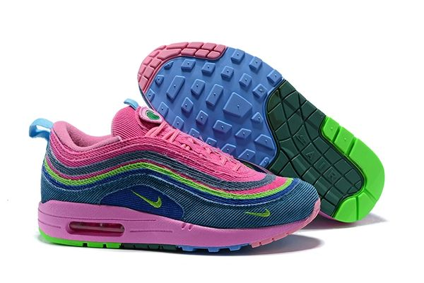 NEW Ladies Pink Blue Green Nike Air Max 1/97 VF SW Sean Wotherspoon Running Shoe (Special Limited Edition)