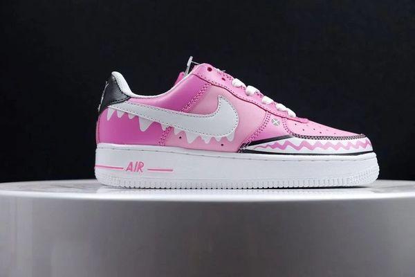 Ladies Nike Air Force 1 Low Custom iD Pink Ice Cream Shark Sneakers