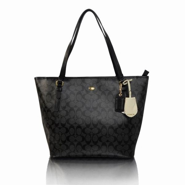 Ladies Coach Solid Signature Print Tote Bag 27348