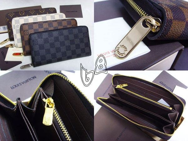 Ladies Louis Vuitton Damier Azur Zippy Compact Wallet