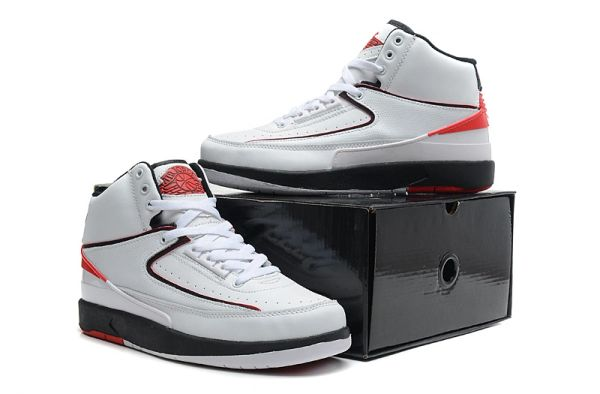 "Air Jordan 2 (II) Retro ""Custom Engraved"" White/Black/Red Sneaker"