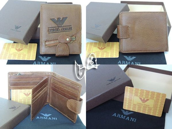 Men's Armani Custom Leather Bi-fold Wallet B