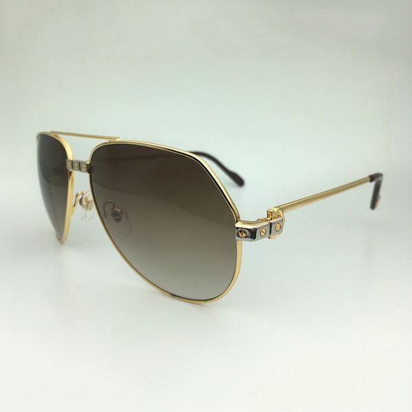 Unisex Gold Brown Cartier Metal Aviator Sunglasses Catalog 20B (Free Express Shipping)