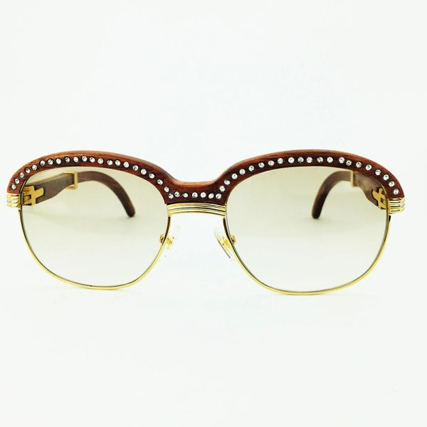 Unisex Diamond Gold Brown Cartier Malmaison Palisander Rosewood Glasses (Special Edition) (Free 3-5 Day Shipping)