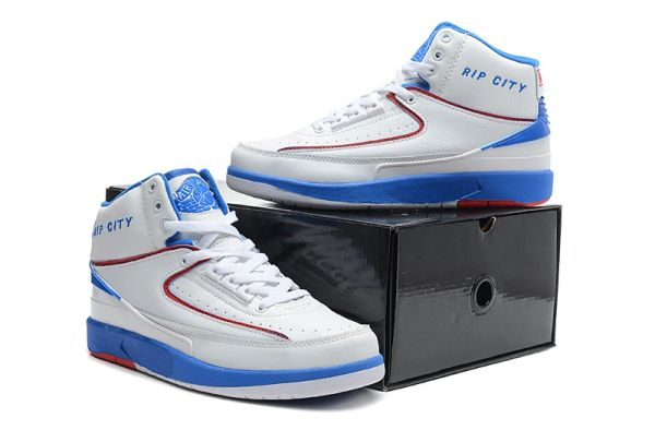 "Air Jordan 2 (II) Retro ""Custom 'Rip City' Engraved"" White/Royal Sneaker"