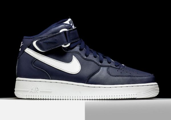 Men's Nike Air Force 1 Mid Navy & White Sneakers